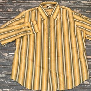 🔥 Versace men's yellow stripe dress shirt 19.5 48
